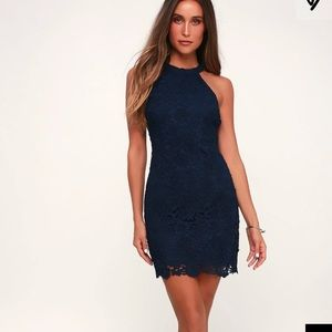 Lulus poem navy blue lace dress